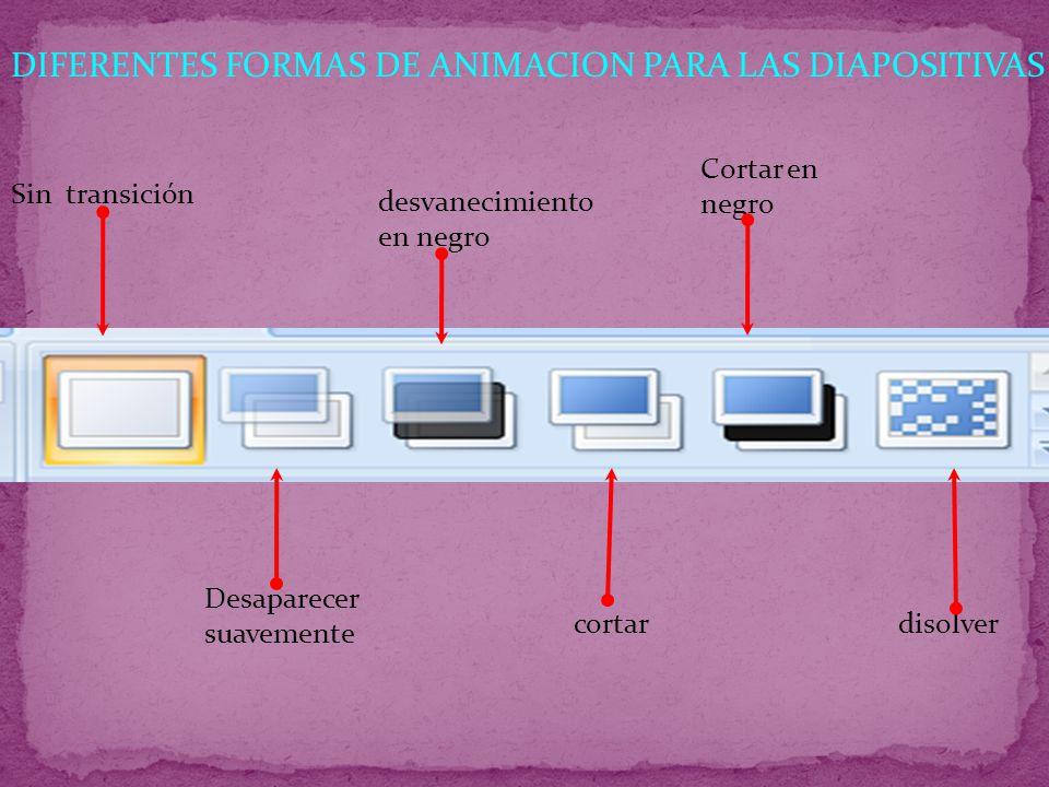 DIFERENTES FORMAS DE ANIMACION PARA LAS DIAPOSITIVAS