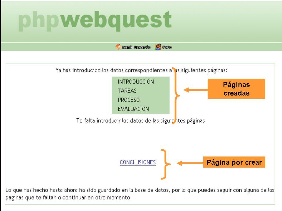 Páginas creadas Página por crear