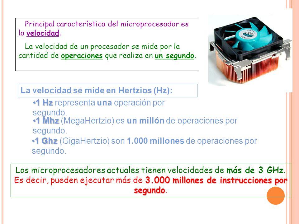 La velocidad se mide en Hertzios (Hz):