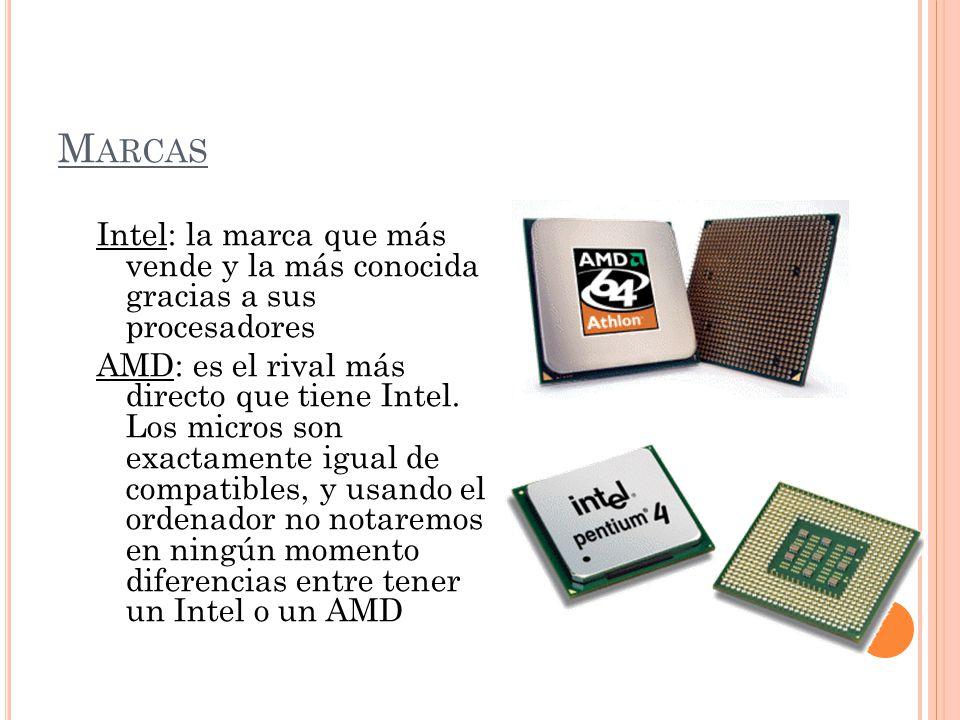 Marcas Intel: la marca que más vende y la más conocida gracias a sus procesadores.