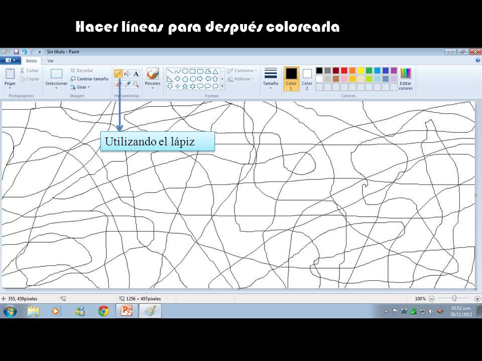 Hacer líneas para después colorearla