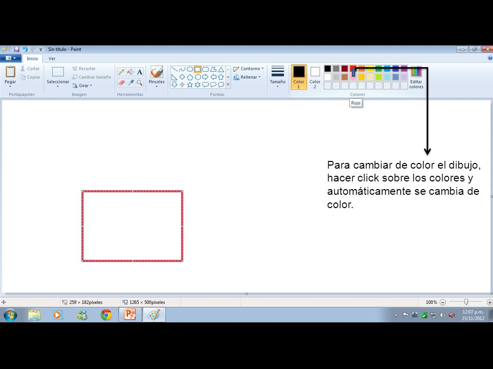Para cambiar de color el dibujo, hacer click sobre los colores y automáticamente se cambia de color.