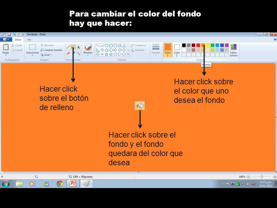 Para cambiar el color del fondo hay que hacer: