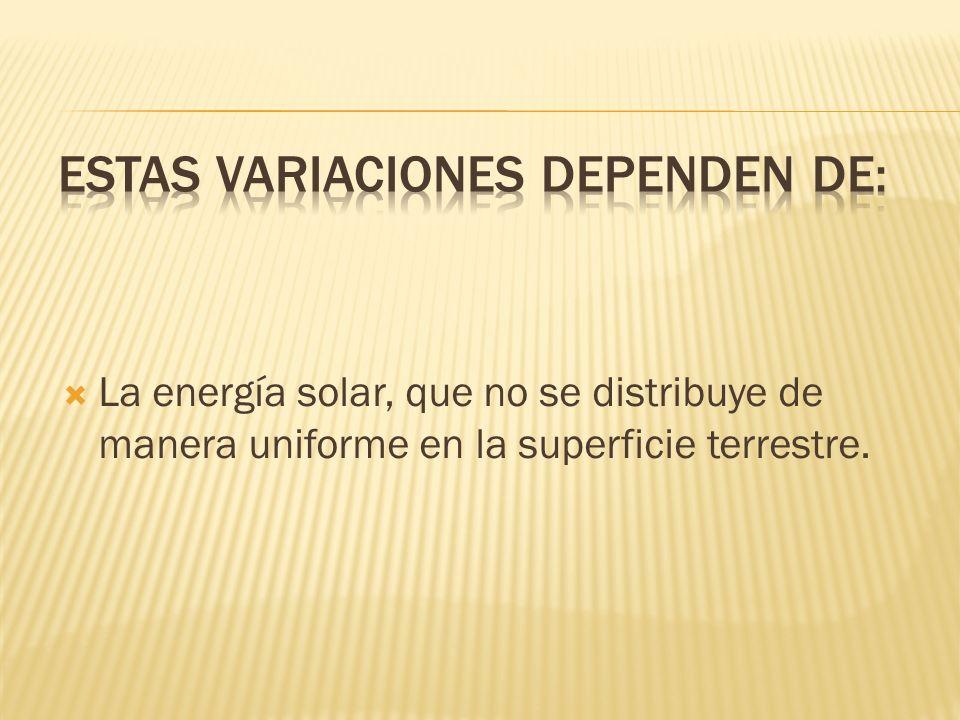 ESTAS VARIACIONES DEPENDEN DE: