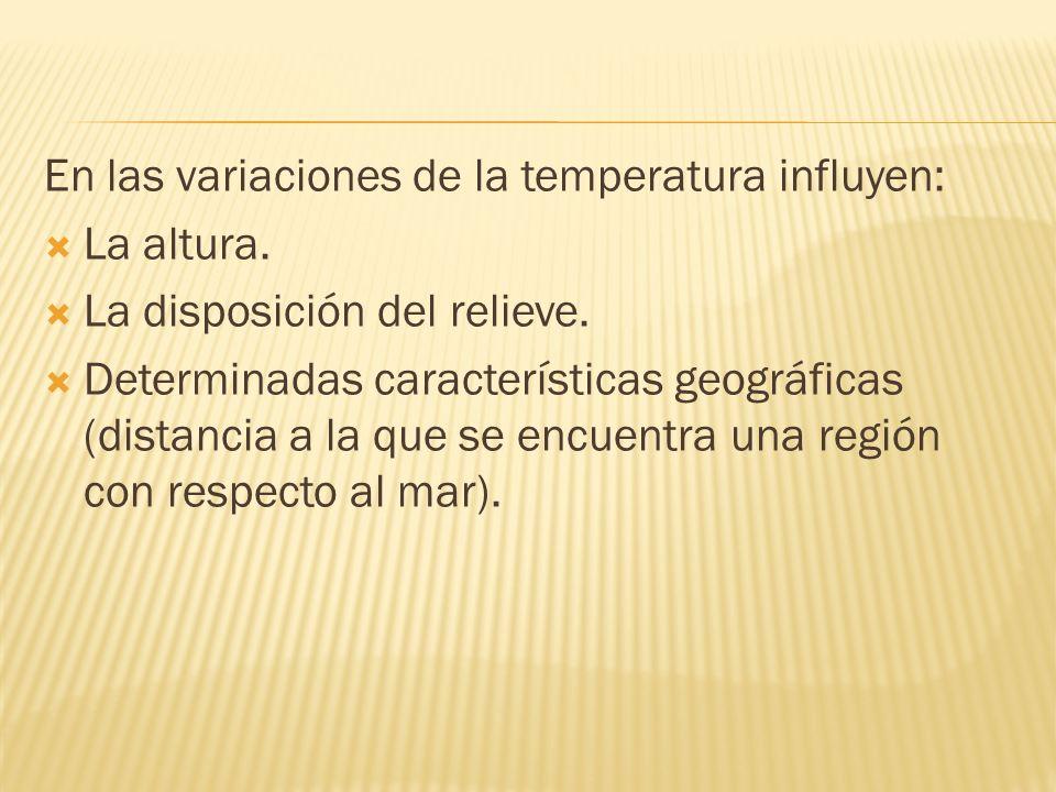 En las variaciones de la temperatura influyen: