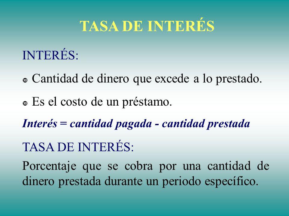 TASA DE INTERÉS INTERÉS: Cantidad de dinero que excede a lo prestado.