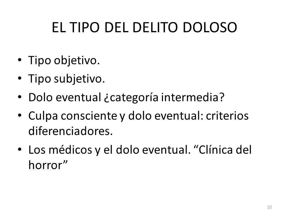 EL TIPO DEL DELITO DOLOSO