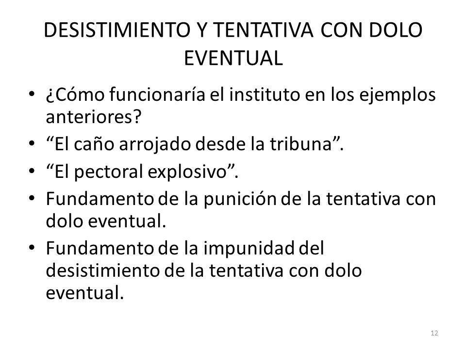 DESISTIMIENTO Y TENTATIVA CON DOLO EVENTUAL