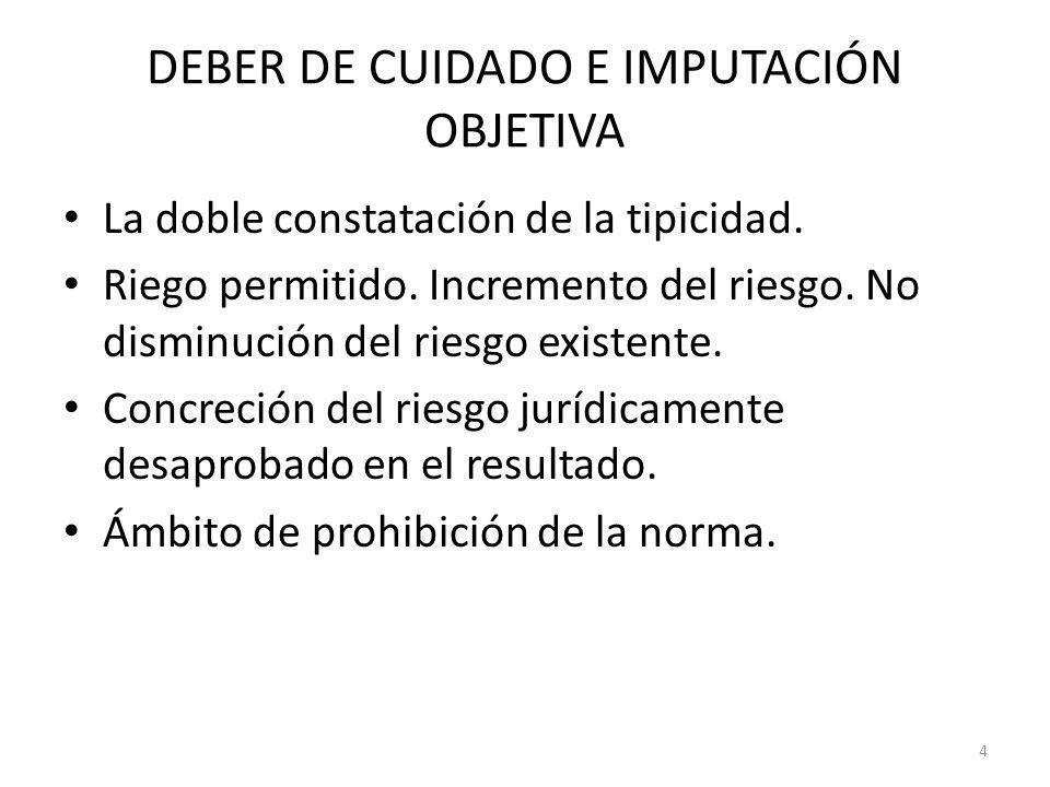 DEBER DE CUIDADO E IMPUTACIÓN OBJETIVA