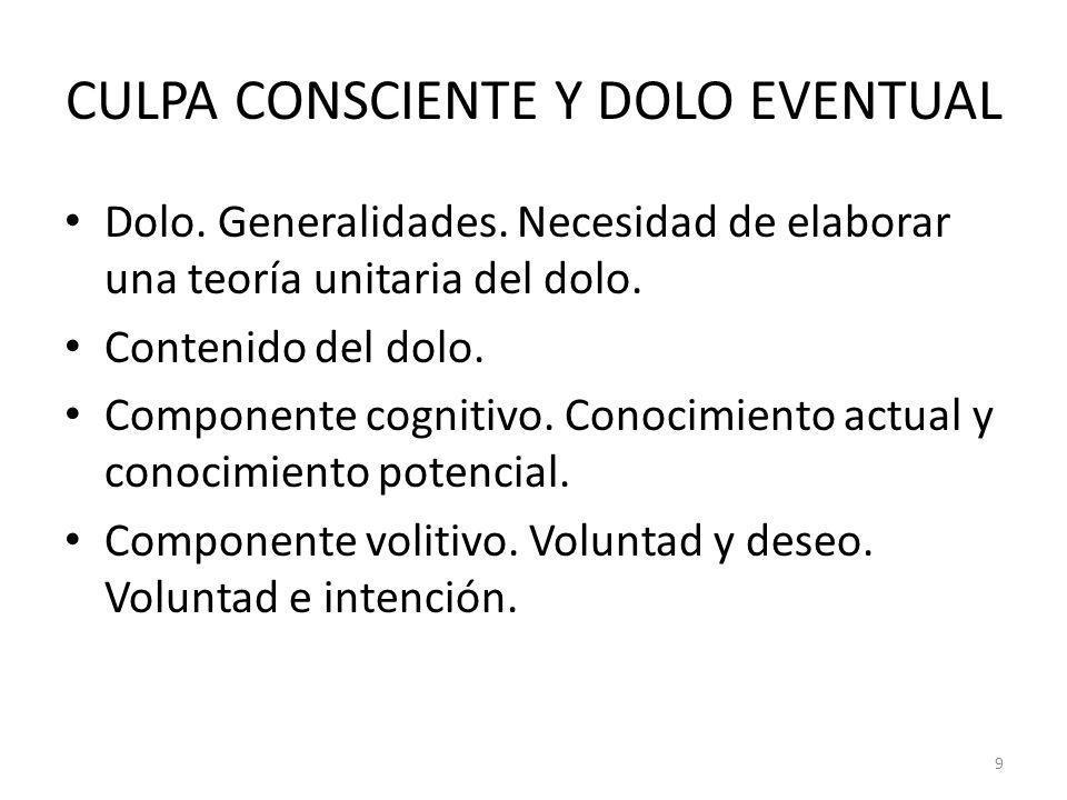 CULPA CONSCIENTE Y DOLO EVENTUAL