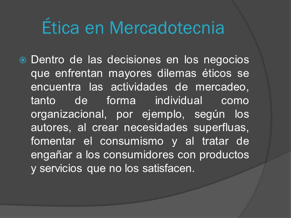 Ética en Mercadotecnia