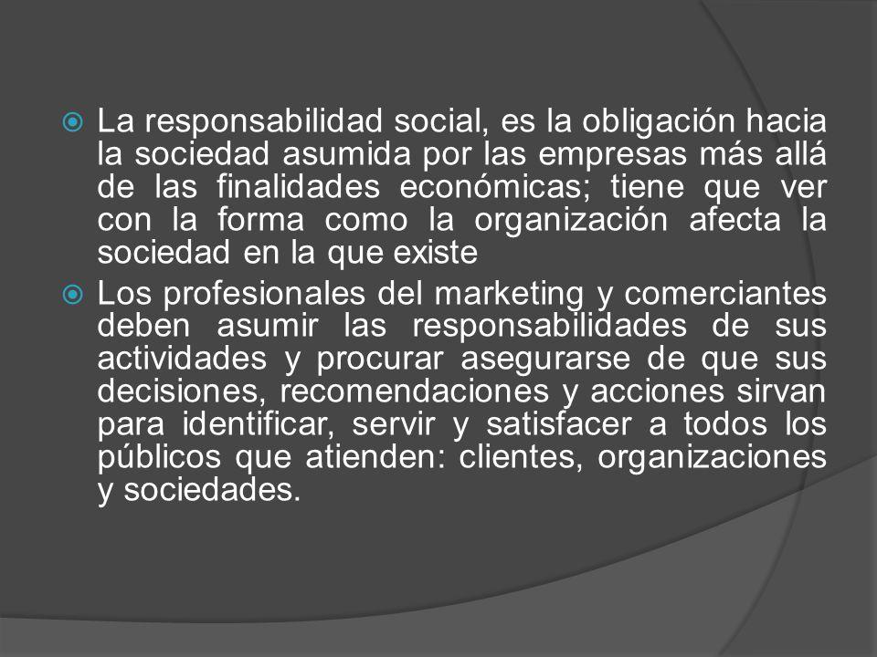 La responsabilidad social, es la obligación hacia la sociedad asumida por las empresas más allá de las finalidades económicas; tiene que ver con la forma como la organización afecta la sociedad en la que existe