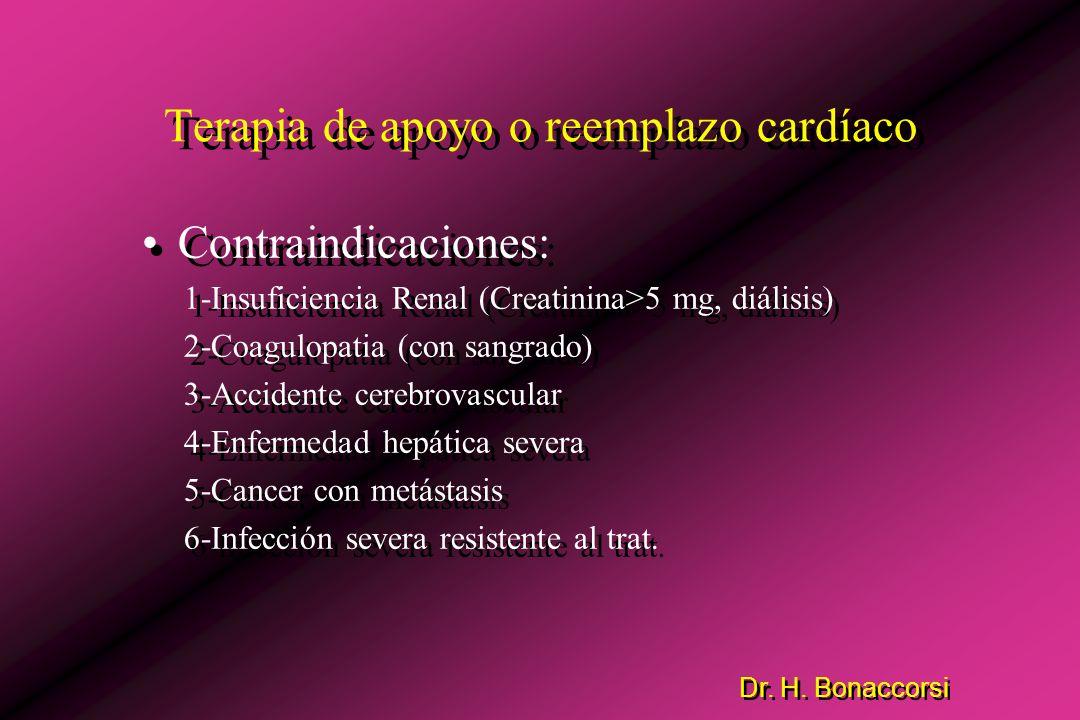 Terapia de apoyo o reemplazo cardíaco