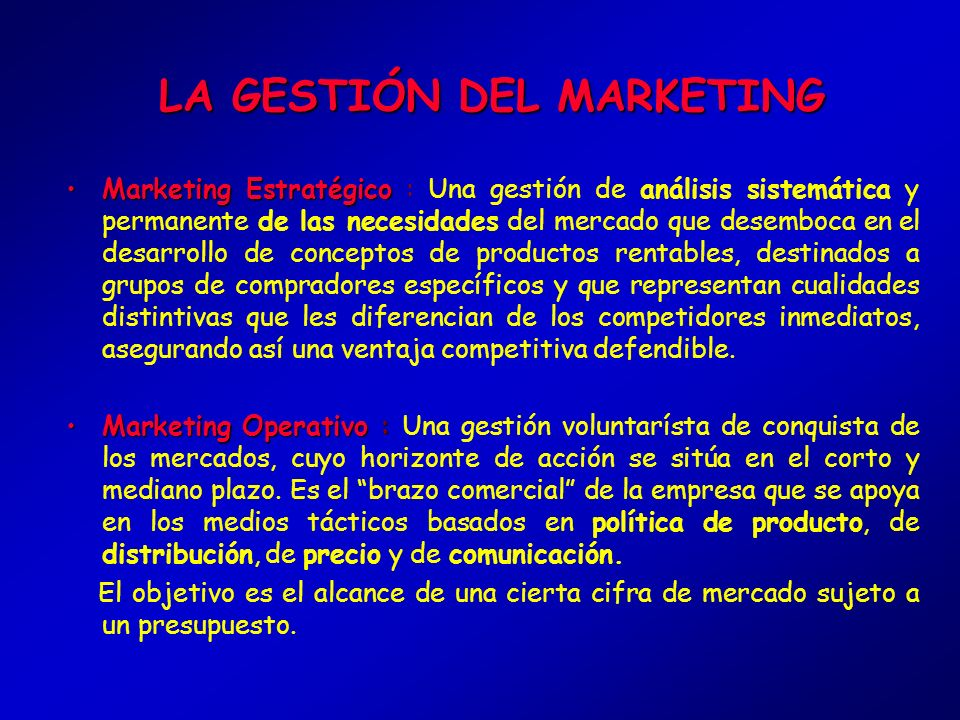 LA GESTIÓN DEL MARKETING