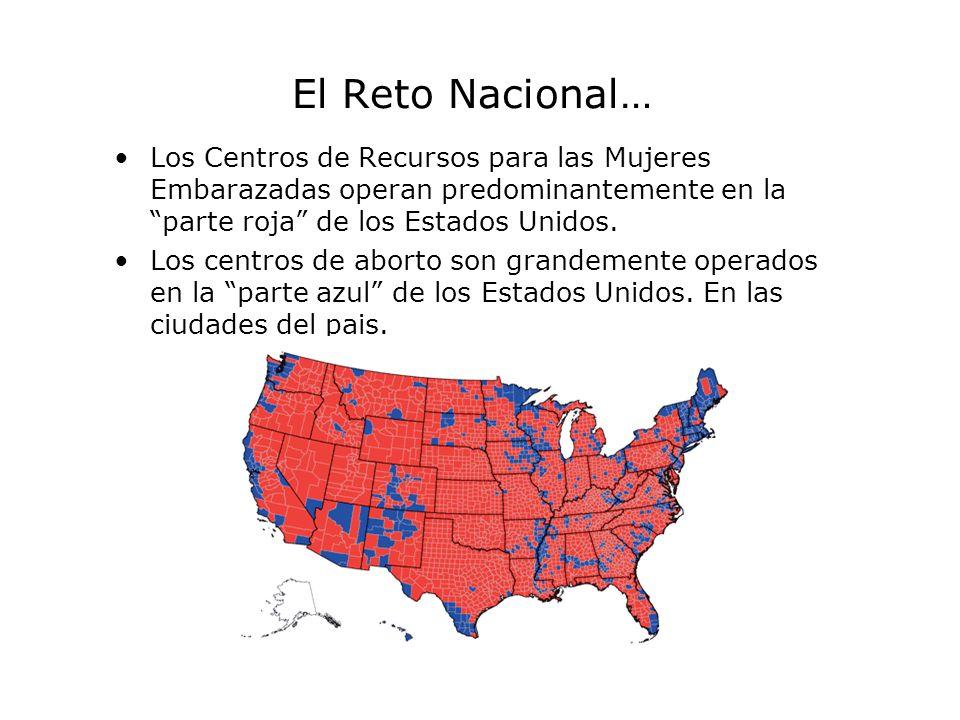 El Reto Nacional… Los Centros de Recursos para las Mujeres Embarazadas operan predominantemente en la parte roja de los Estados Unidos.