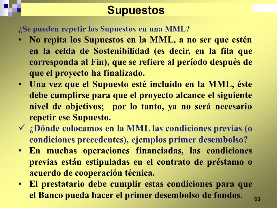Supuestos ¿Se pueden repetir los Supuestos en una MML
