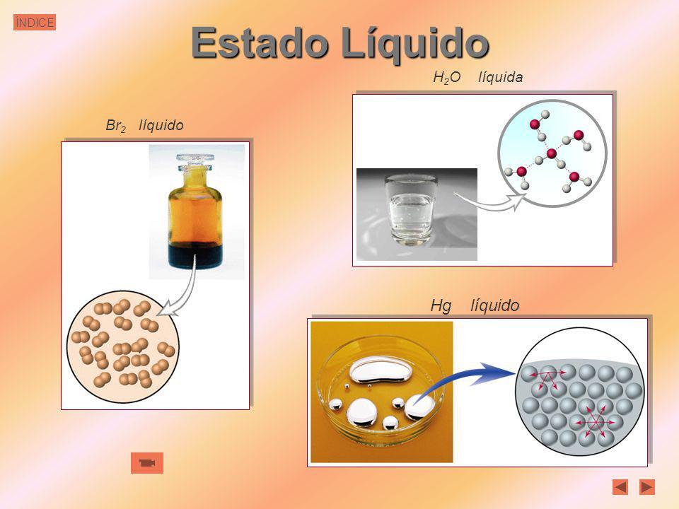 Estado Líquido H2O líquida Br2 líquido Hg líquido