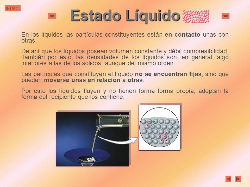 Estado Líquido En los líquidos las partículas constituyentes están en contacto unas con otras.