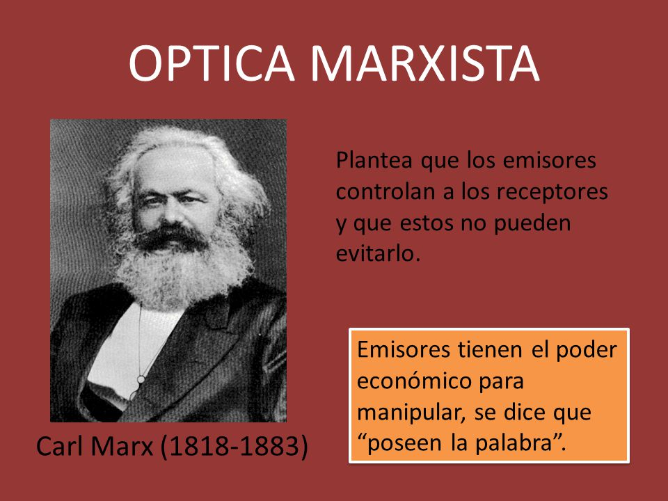 OPTICA MARXISTA Carl Marx (1818-1883)