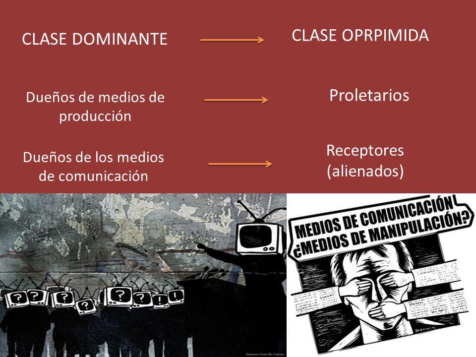 CLASE OPRPIMIDA CLASE DOMINANTE Proletarios Receptores (alienados)