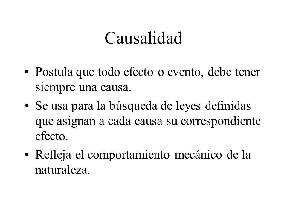Causalidad Postula que todo efecto o evento, debe tener siempre una causa.