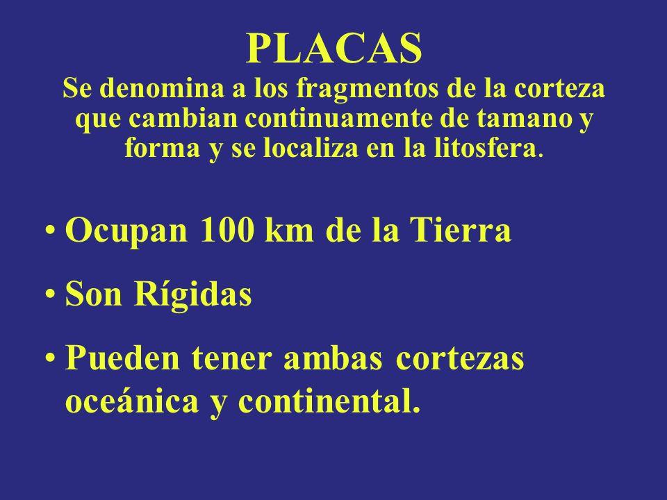 PLACAS Se denomina a los fragmentos de la corteza que cambian continuamente de tamano y forma y se localiza en la litosfera.