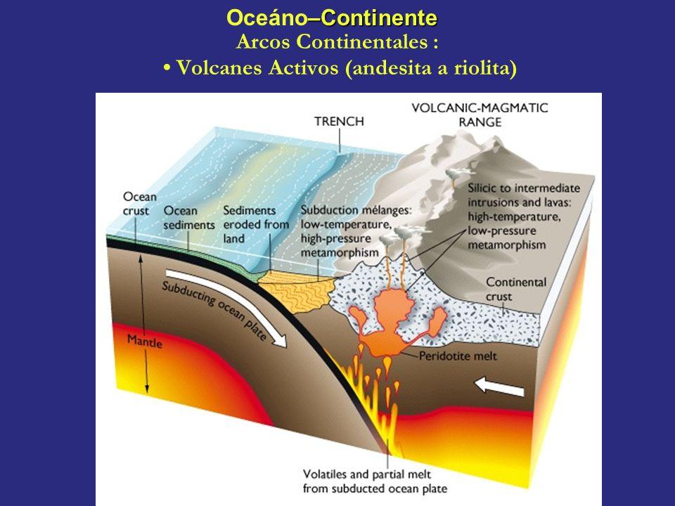 Arcos Continentales : • Volcanes Activos (andesita a riolita)