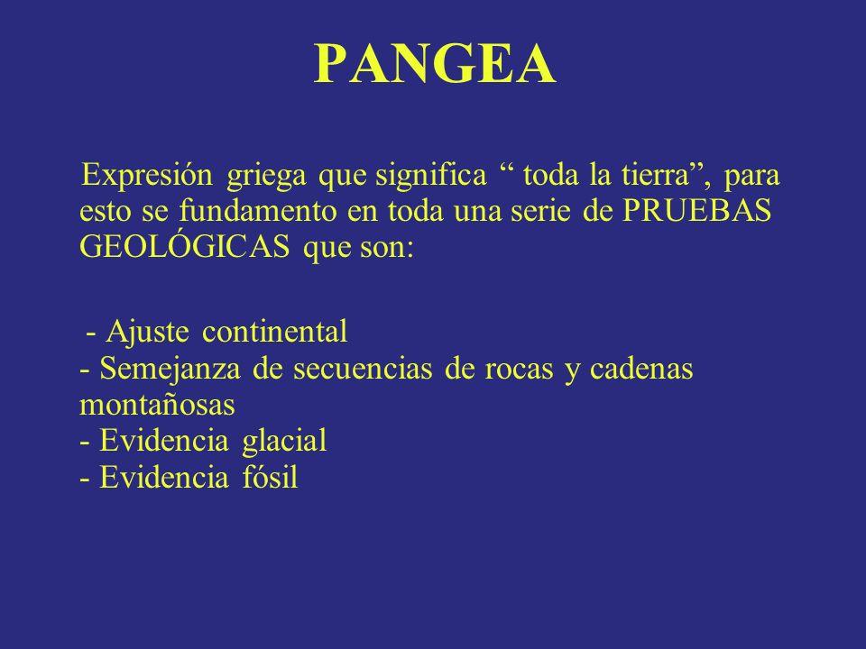 PANGEA Expresión griega que significa toda la tierra , para esto se fundamento en toda una serie de PRUEBAS GEOLÓGICAS que son: