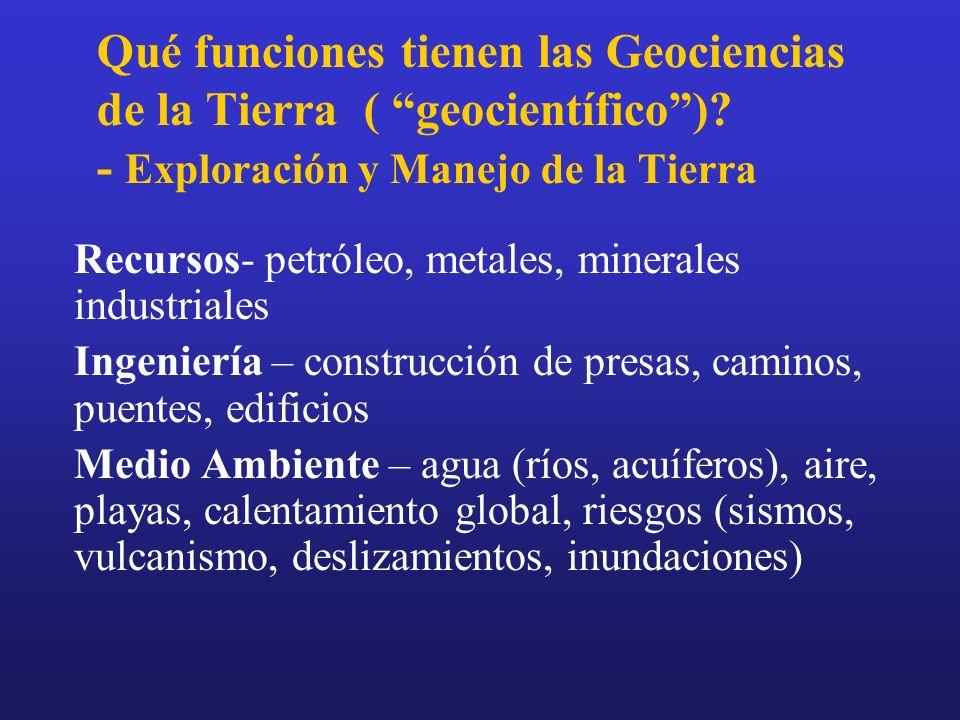 Qué funciones tienen las Geociencias de la Tierra ( geocientífico )