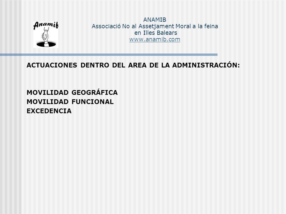 ACTUACIONES DENTRO DEL AREA DE LA ADMINISTRACIÓN: