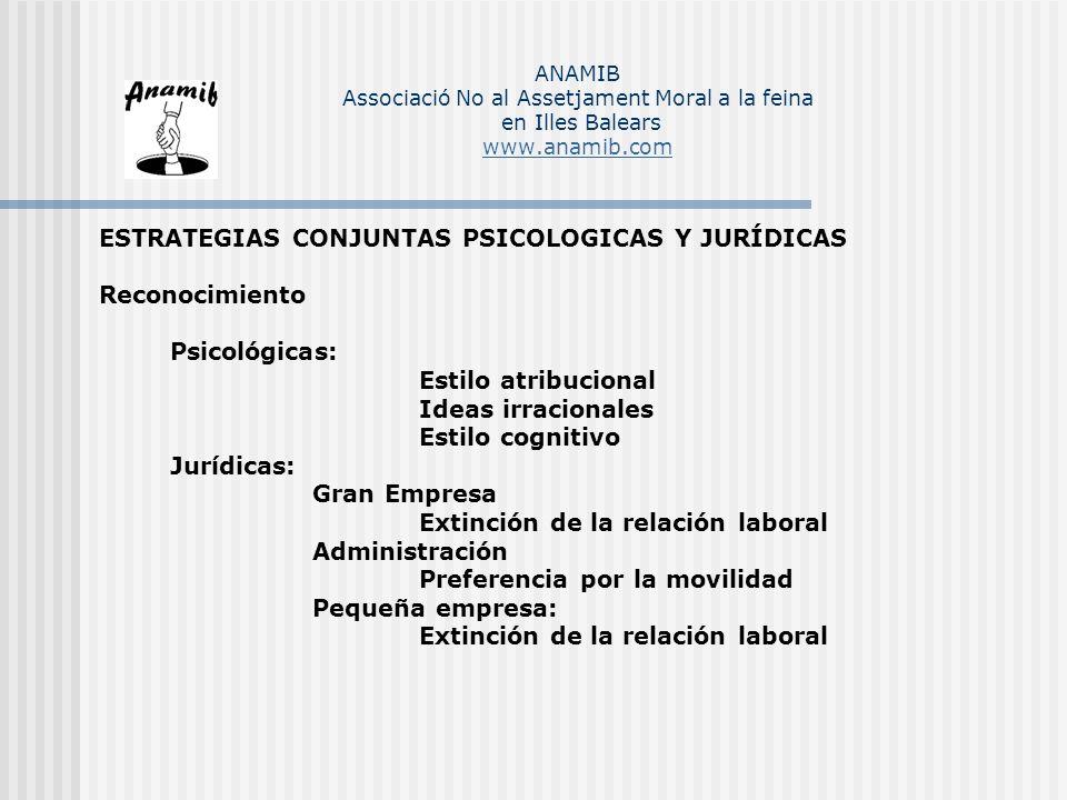 ESTRATEGIAS CONJUNTAS PSICOLOGICAS Y JURÍDICAS Reconocimiento