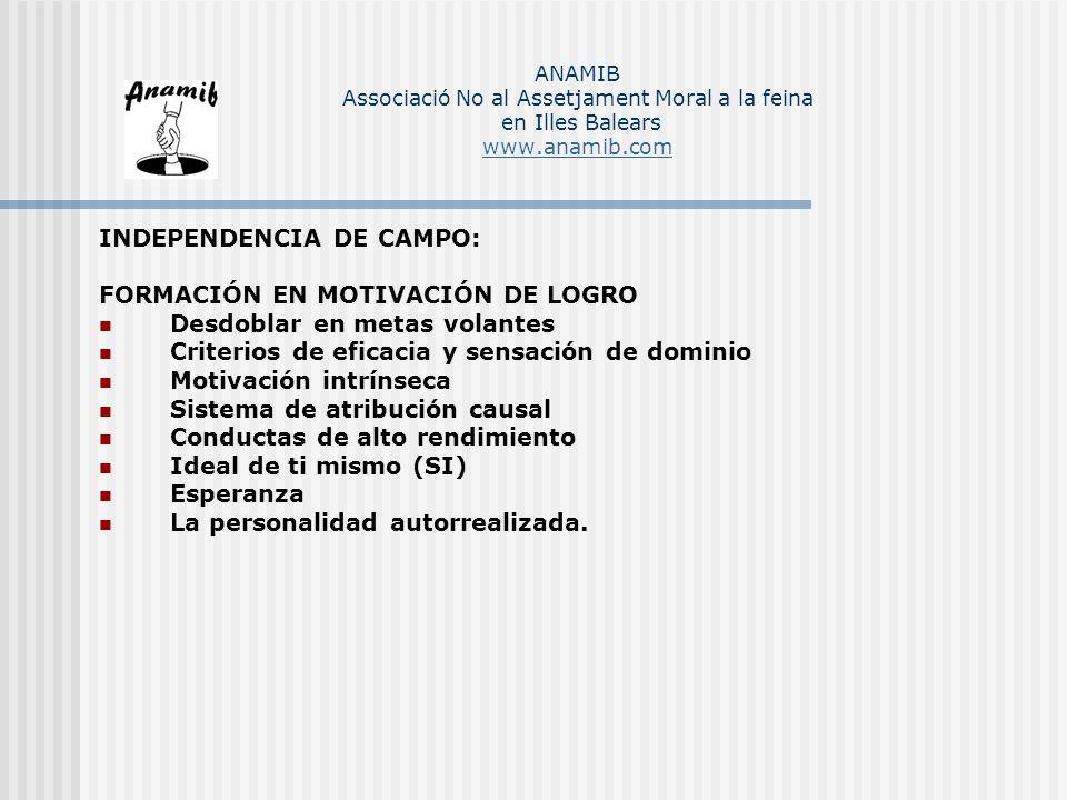 INDEPENDENCIA DE CAMPO: FORMACIÓN EN MOTIVACIÓN DE LOGRO