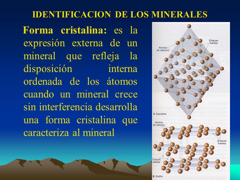 IDENTIFICACION DE LOS MINERALES