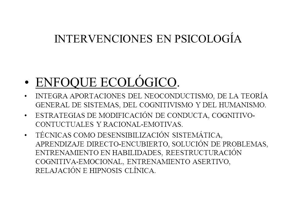 INTERVENCIONES EN PSICOLOGÍA