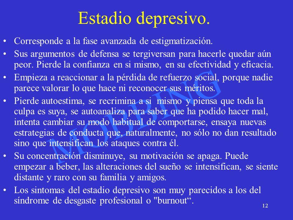 Estadio depresivo. Corresponde a la fase avanzada de estigmatización.