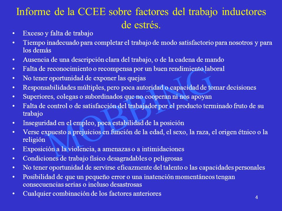 Informe de la CCEE sobre factores del trabajo inductores de estrés.