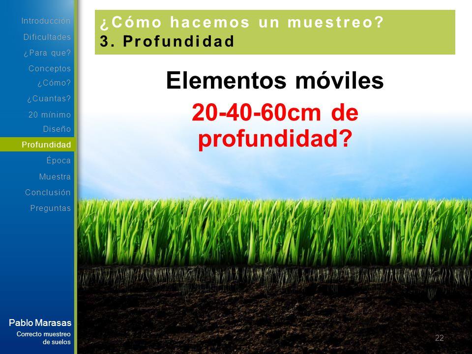 Elementos móviles 20-40-60cm de profundidad