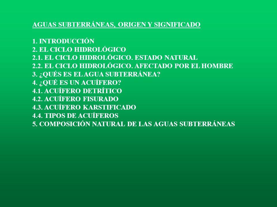AGUAS SUBTERRÁNEAS, ORIGEN Y SIGNIFICADO