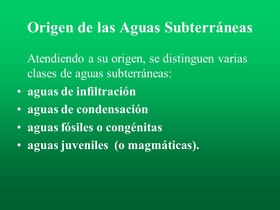 Origen de las Aguas Subterráneas