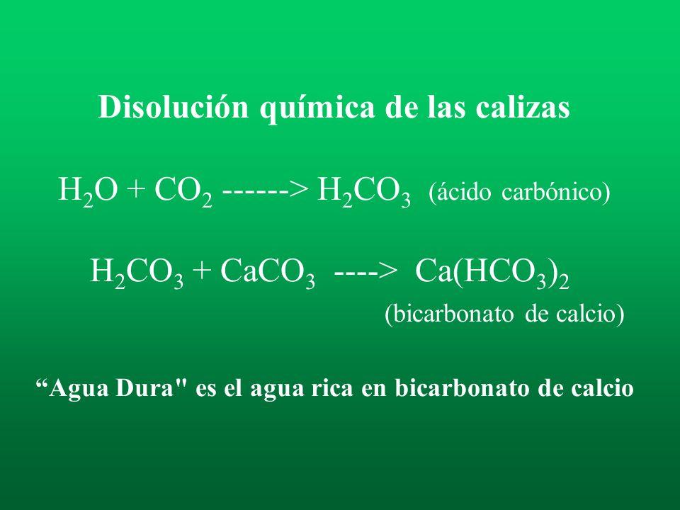 Disolución química de las calizas H2O + CO2 ------> H2CO3 (ácido carbónico) H2CO3 + CaCO3 ----> Ca(HCO3)2 (bicarbonato de calcio) Agua Dura es el agua rica en bicarbonato de calcio
