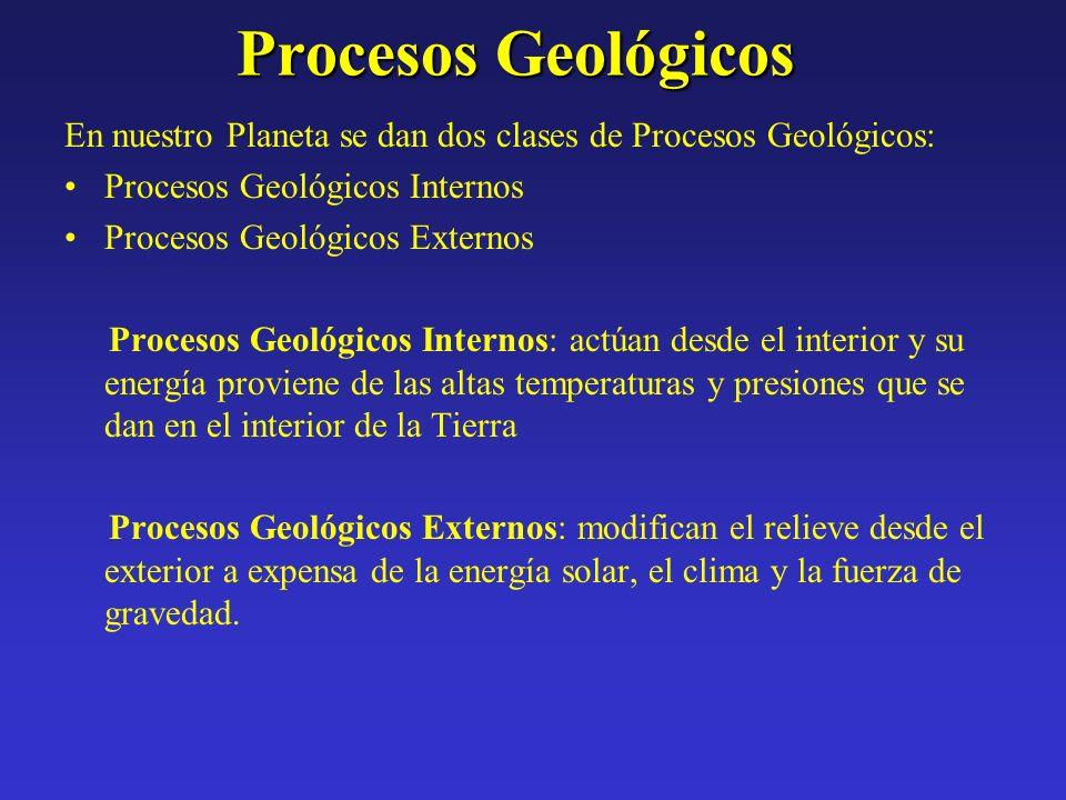 Procesos Geológicos En nuestro Planeta se dan dos clases de Procesos Geológicos: Procesos Geológicos Internos.