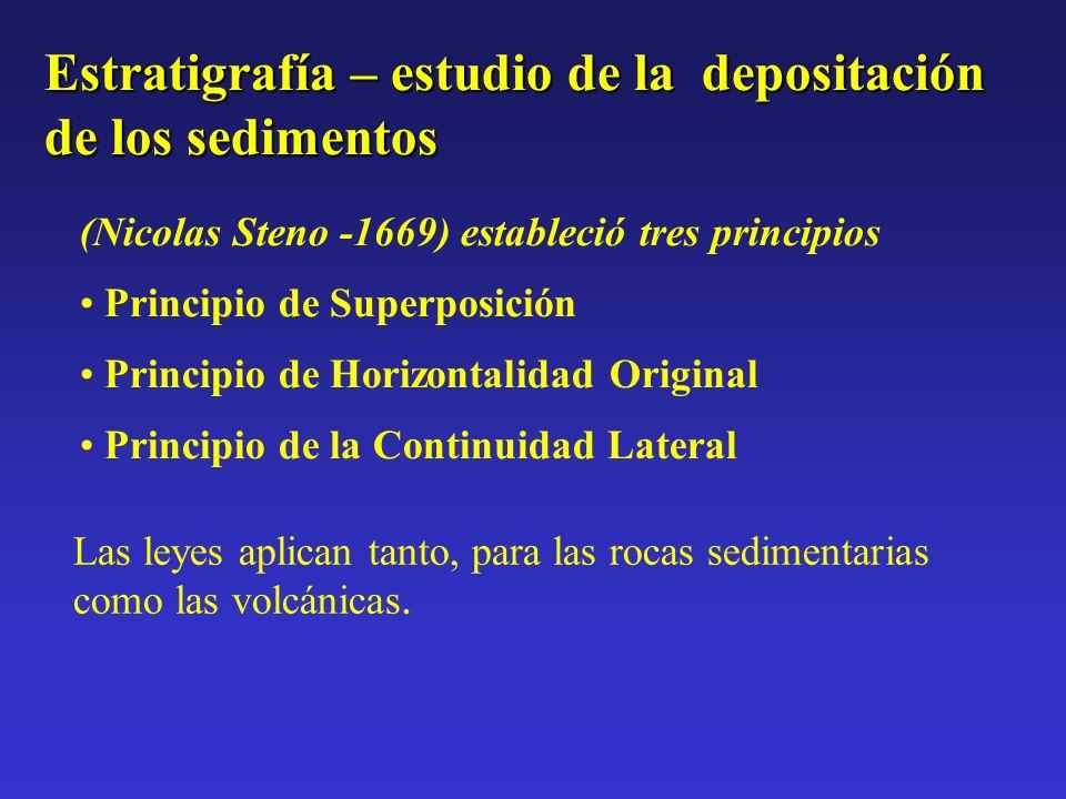 Estratigrafía – estudio de la depositación de los sedimentos