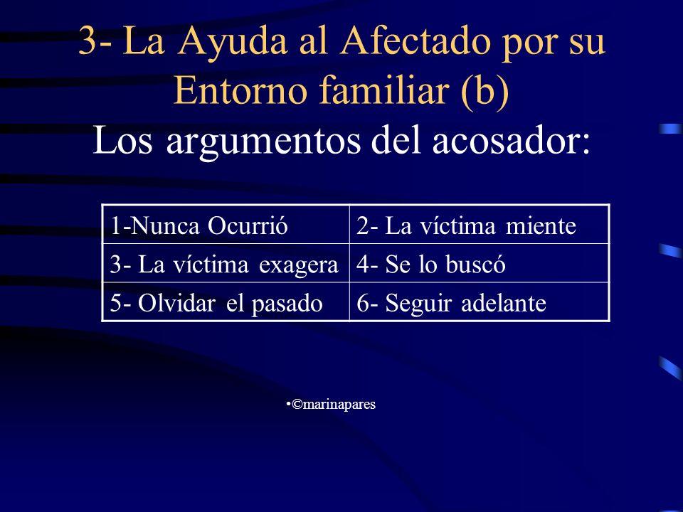 3- La Ayuda al Afectado por su Entorno familiar (b) Los argumentos del acosador: