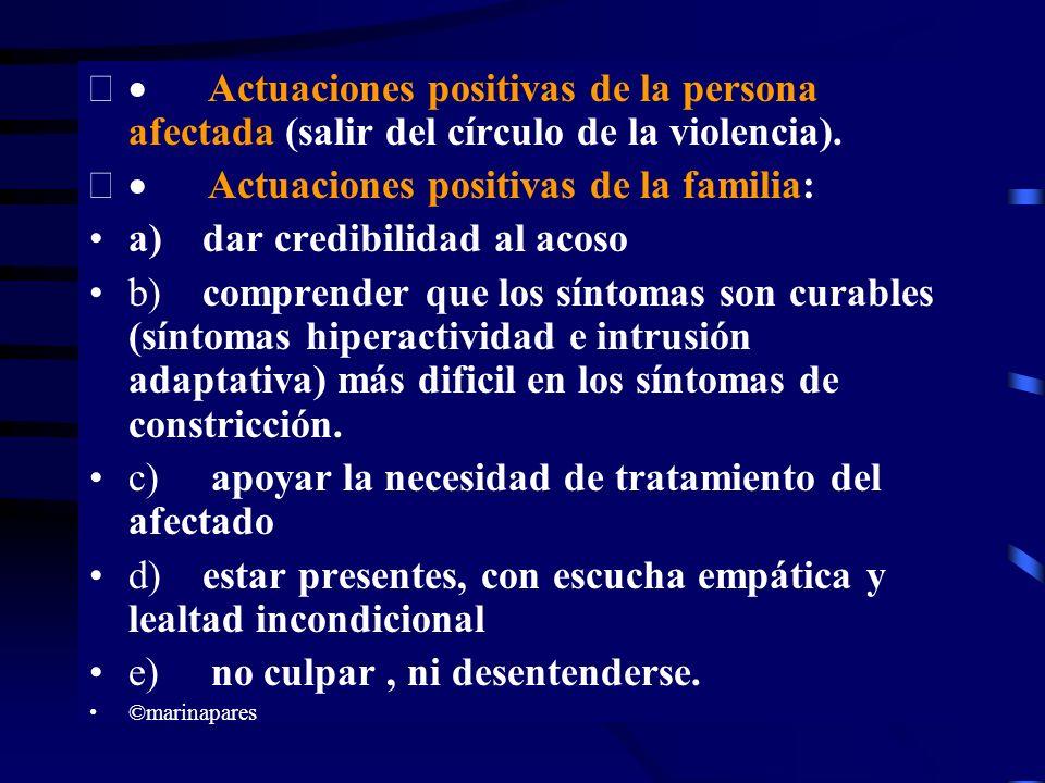 · Actuaciones positivas de la familia: a) dar credibilidad al acoso