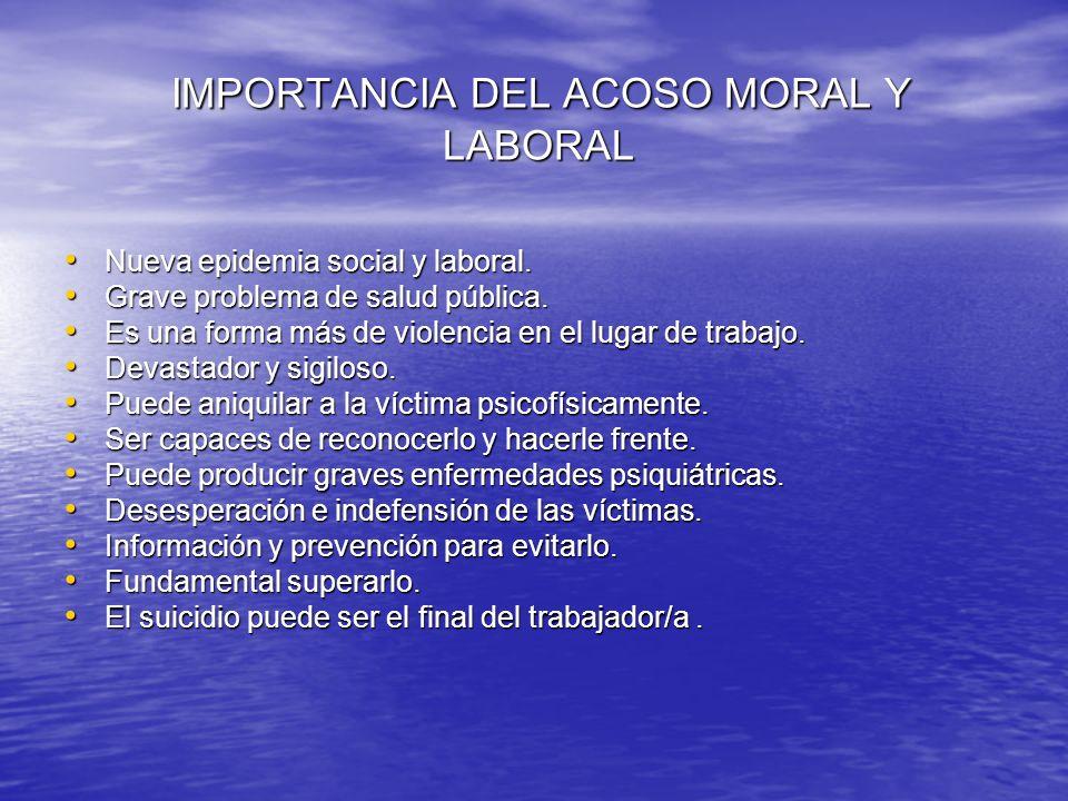 IMPORTANCIA DEL ACOSO MORAL Y LABORAL
