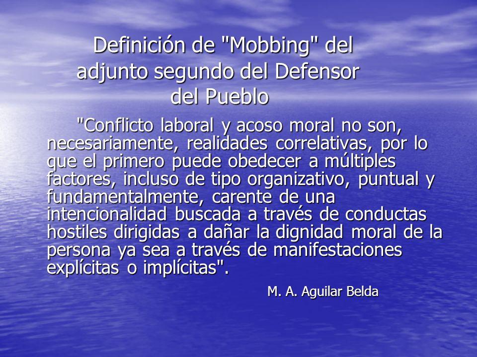 Definición de Mobbing del adjunto segundo del Defensor del Pueblo