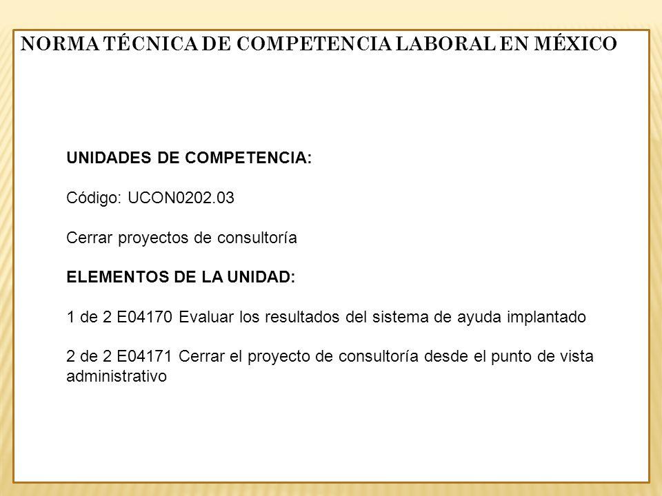 NORMA TÉCNICA DE COMPETENCIA LABORAL EN MÉXICO