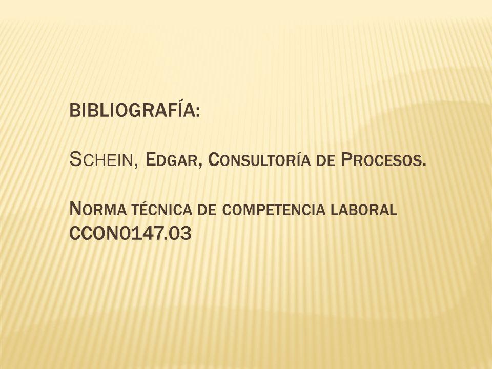 BIBLIOGRAFÍA: Schein, Edgar, Consultoría de Procesos.