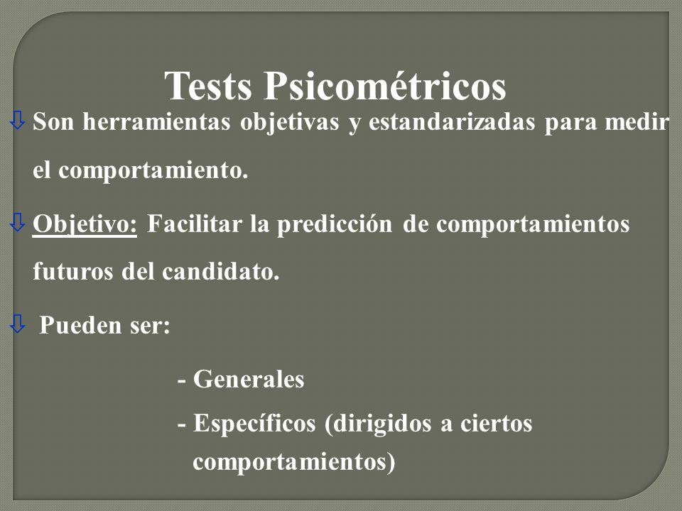 Tests Psicométricos Son herramientas objetivas y estandarizadas para medir el comportamiento.