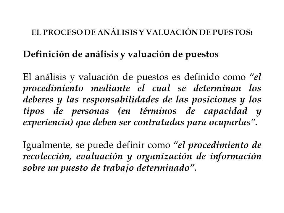 EL PROCESO DE ANÁLISIS Y VALUACIÓN DE PUESTOS: